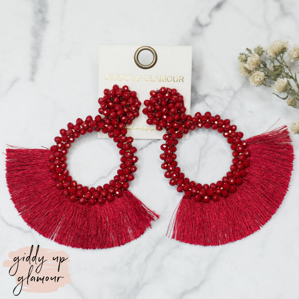 Crystal Circle Hoops with Fan Fringe Trim in Burgundy
