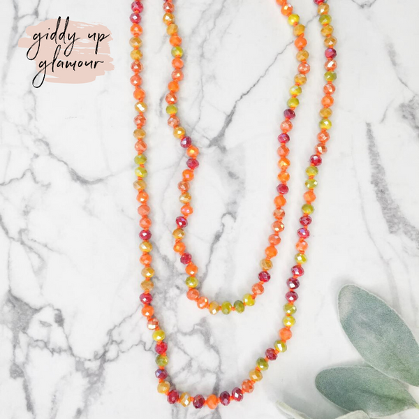 60 Inch Long Layering 8mm Crystal Strand Necklace in Orange Multi