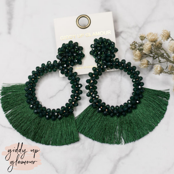 Crystal Circle Hoops with Fan Fringe Trim in Dark Green