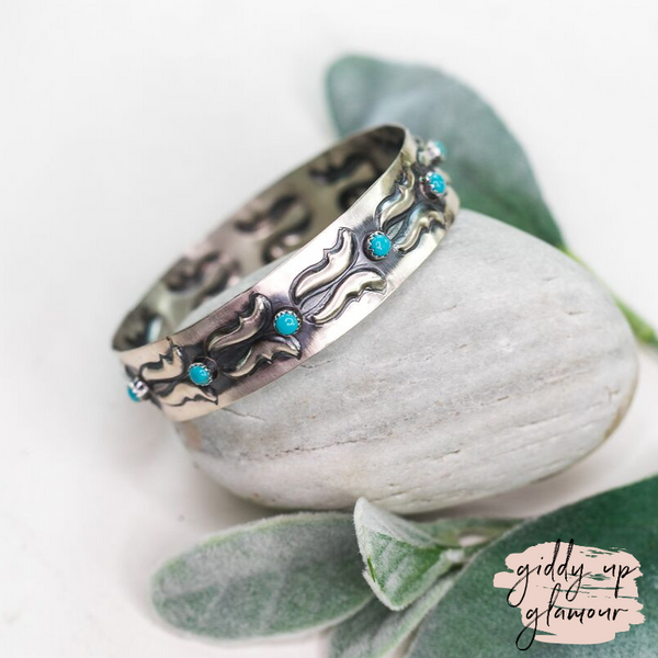 Navajo | Genuine Sterling Silver Bangle Bracelet with Turquoise Cabochons