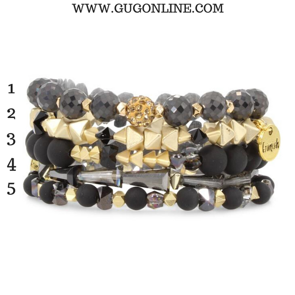 Erimish | Lincoln Jar | Stackable Crystal Bracelets in Black and Gold