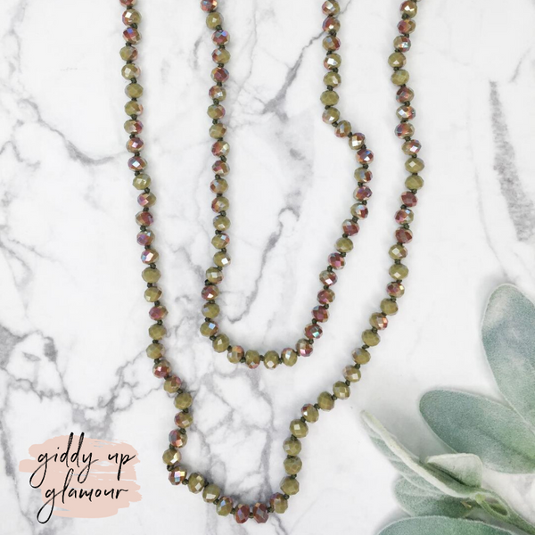 60 Inch Long Layering 8mm Crystal Strand Necklace in Camo