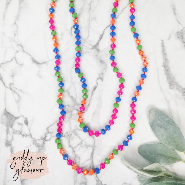 60 Inch Long Layering 8mm Crystal Strand Necklace in Neon Multi