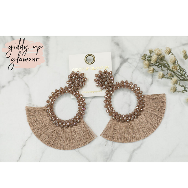 Crystal Circle Hoops with Fan Fringe Trim in Taupe