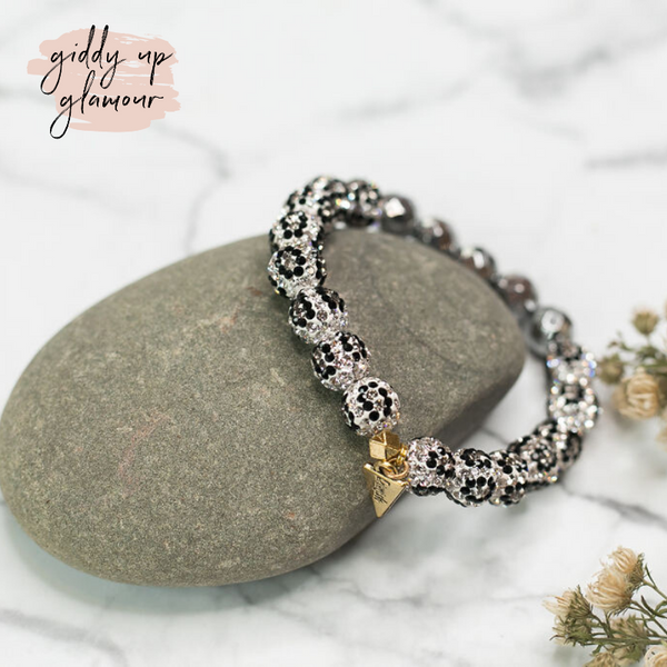 Erimish | Black and White Leopard Crystal Beaded Bracelet