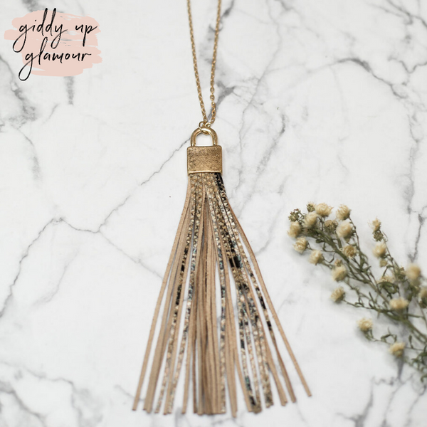 Long Gold Necklace with Leather Tassel in Snakeskin