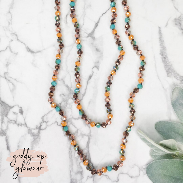60 Inch Long Layering 8mm Crystal Strand Necklace in Mustard Yellow and Turquoise