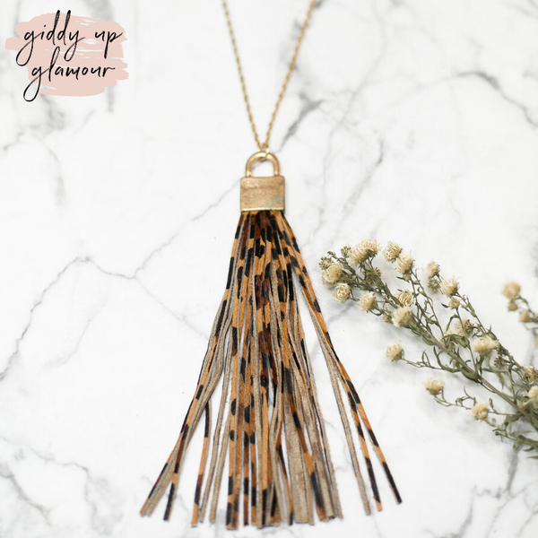 Long Gold Necklace with Leather Tassel in Leopard