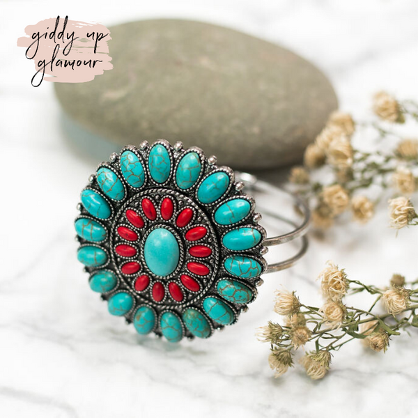 Large Cluster Bracelet in Turquoise and Red