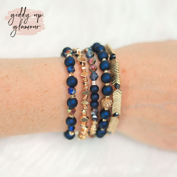 Erimish | Tropicana Jar | Stackable Crystal Bracelets in Navy and Gold