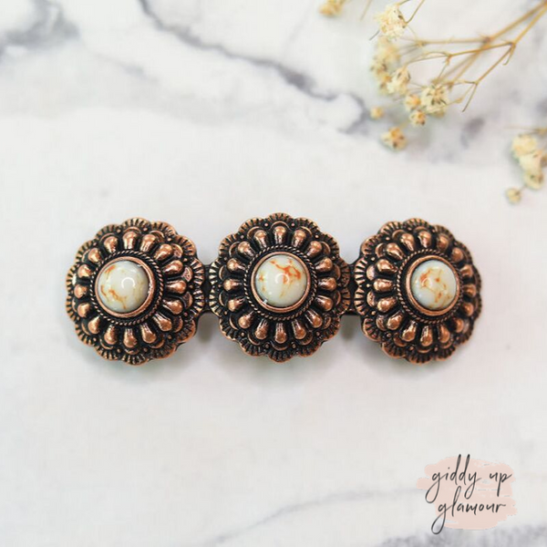 Copper Concho Hair Clip with Ivory Stones