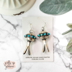 Monica Smith | Genuine Navajo Handmade Etched Sterling Silver Blossom Earrings with Kingman Turquoise