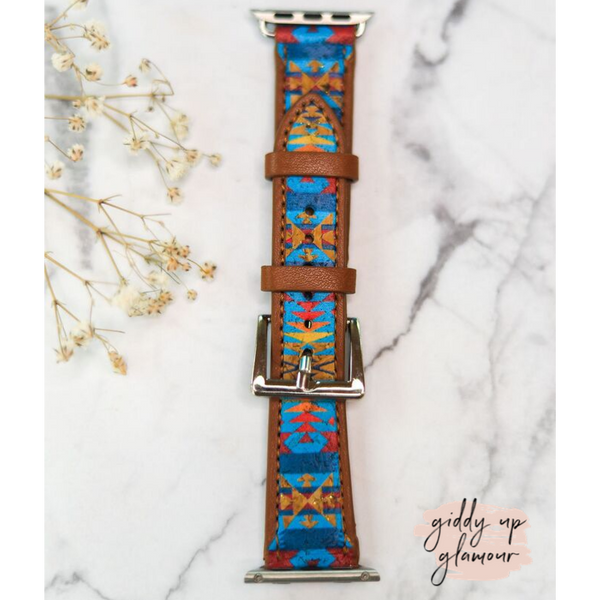 Leather Apple Watch Band in Blue Aztec
