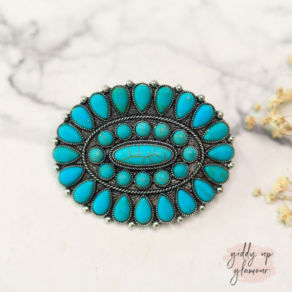 Oval Cluster Hair Clip in Turquoise