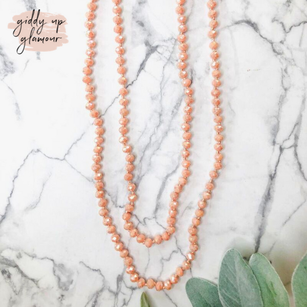 60 Inch Long Layering 8mm Crystal Strand Necklace in Peach