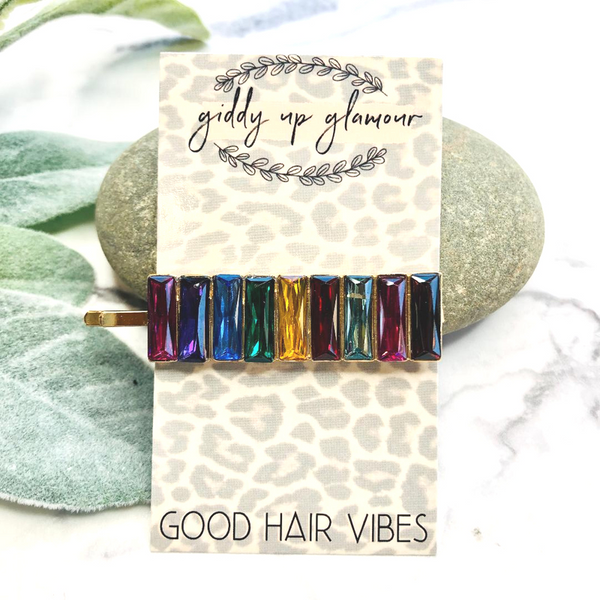 Rainbow Baguette Hair Pin