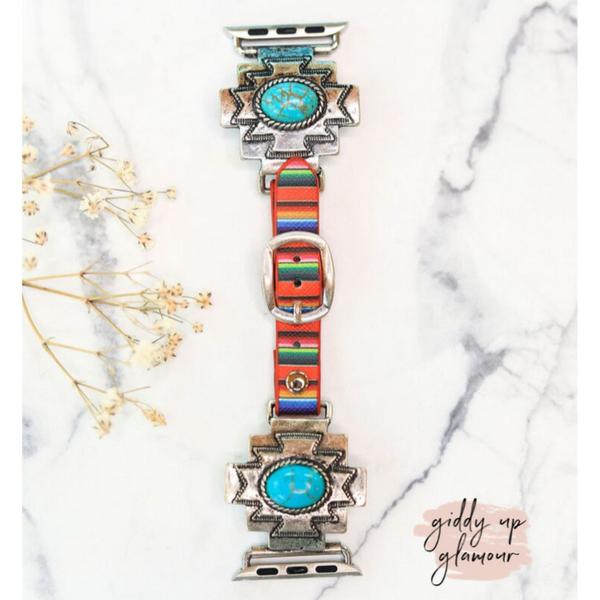Turquoise Aztec Apple Watch Band with Serape Strap
