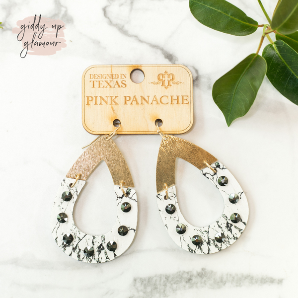 Online Exclusive| Pink Panache Two Piece Wood Teardrop Earrings in Gold and Veined White with Gray Crystals