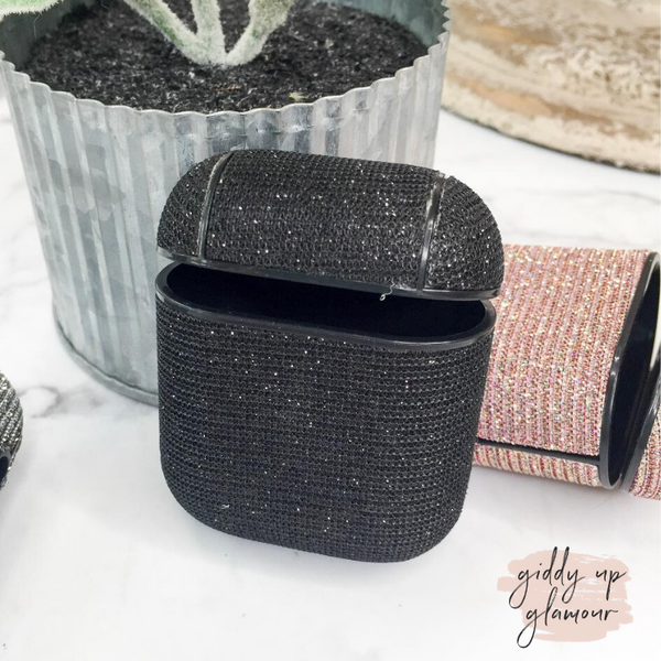 Protective AirPods Case in Black Glitter