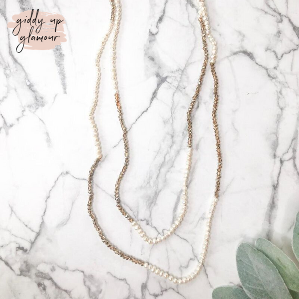 60 Inch Long Layering Necklace in Pearl and Taupe Crystal