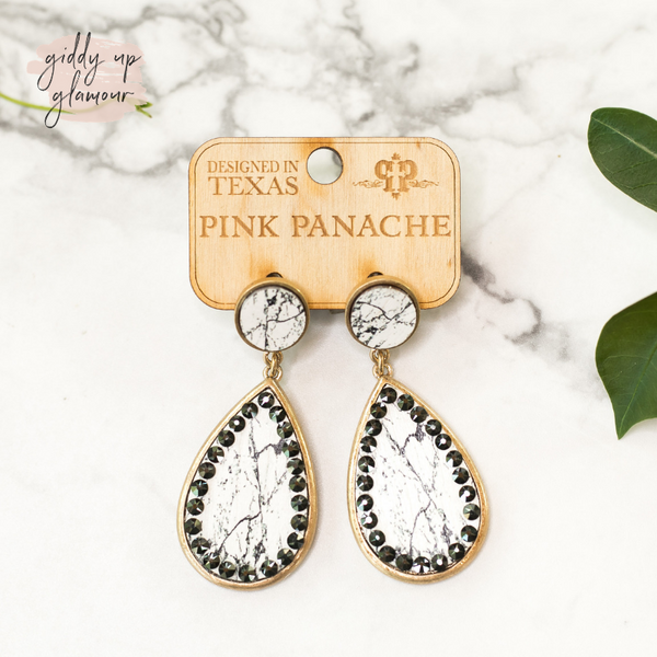 Pink Panache Circle Post Teardrop Earrings in Veined White with Gray Crystals
