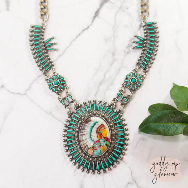 Turquoise Cluster Necklace with Chief Pendant