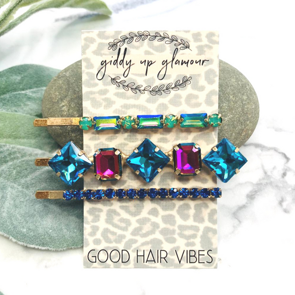 Set of 3 | Crystal Embellished Hair Pins in Blues