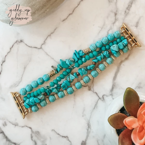 Trendy womens jewelry 4 strand turquoise beaded apple watch band