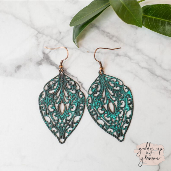 Patina Turquoise Filigree Earrings