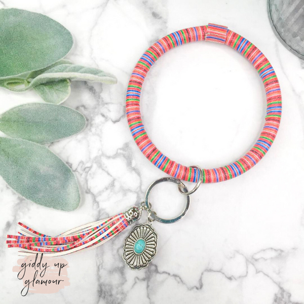Serape O Bangle Key Ring with Concho Charm in Red