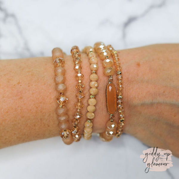 5 Piece Crystal Bracelet Set in Champagne