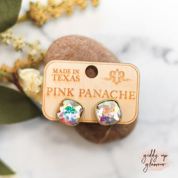 Pink Panache Cushion Cut Bronze Stud Earrings with AB Crystals