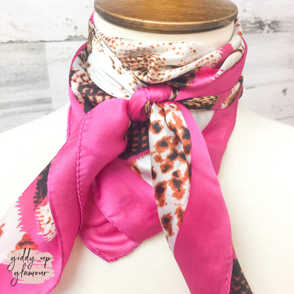 Mixed Animal Print Silky Scarf in Rust and Pink
