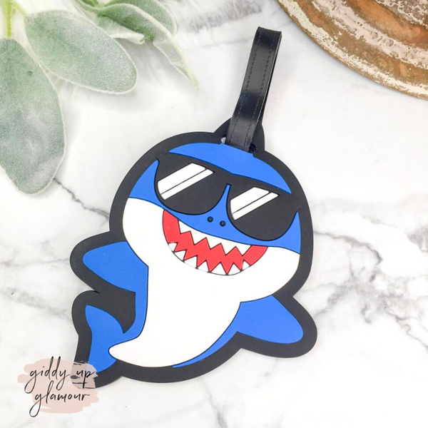 Blue Shark with Sunglasses Luggage Tag