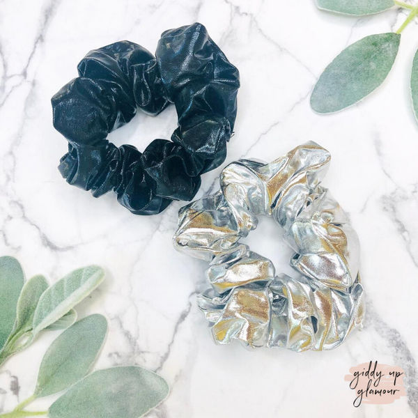 Set of Two Hair Scrunchies in Matte Black and Metallic Silver