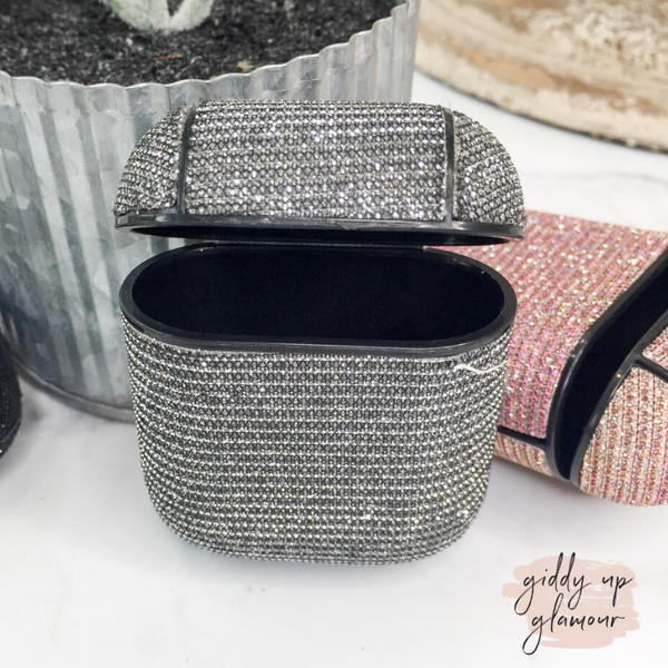 Protective AirPods Case in Silver Glitter