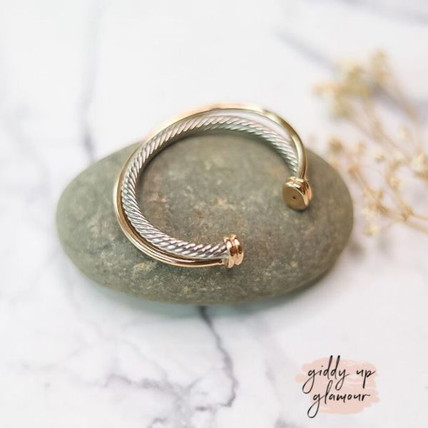 Designer Inspired | Silver Cable Cuff Bracelet with Gold Wire Accent