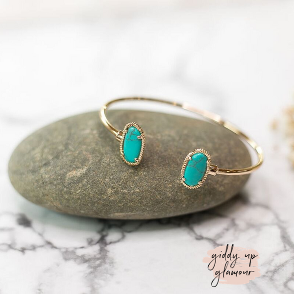 Designer Inspired | Turquoise Oval Wire Bracelet in Gold