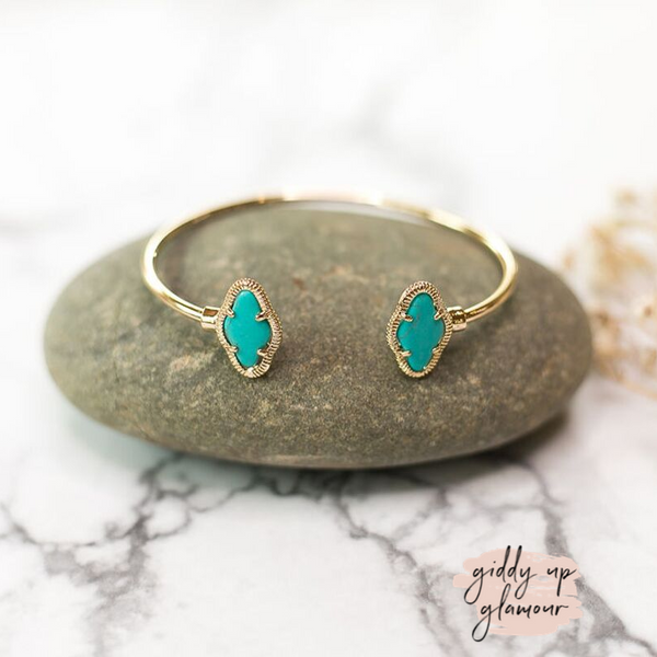 Designer Inspired | Turquoise Kite Wire Bracelet in Gold