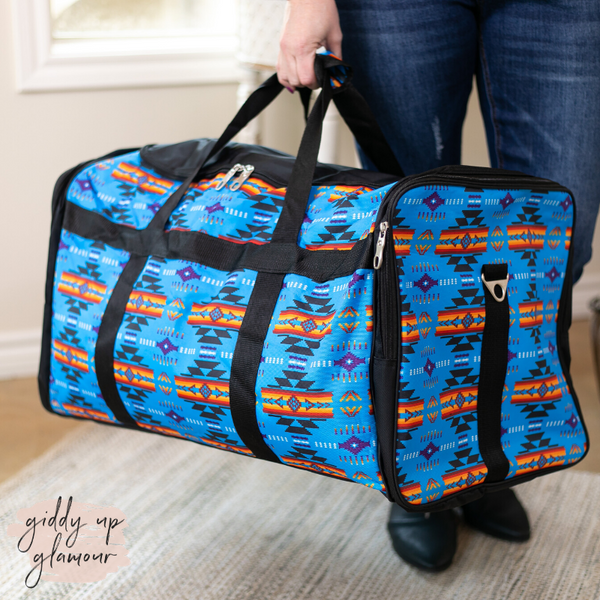 Going Places Large Aztec Duffel Bag in Blue