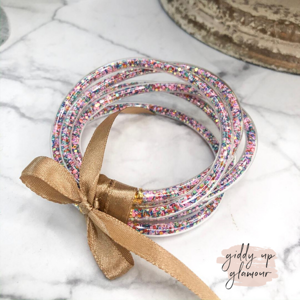 Clear Confetti Jelly Tube Bangle Set in Multi