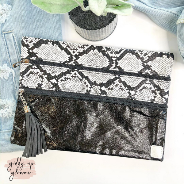 Sounds Like a Plan  | The Versi Two Pouch Bag in Black and Snakeskin