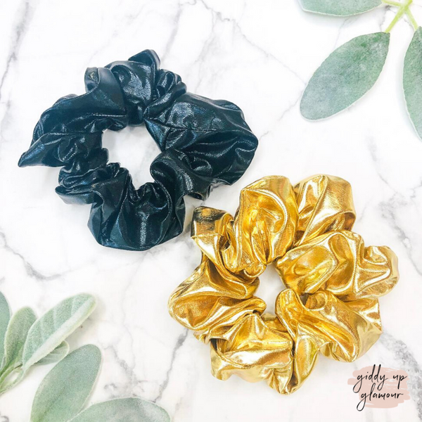Set of Two | Metallic Gold and Matte Black Hair Scrunchies