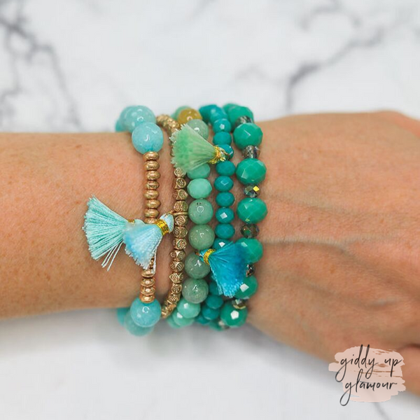 5 Strand Turquoise and Gold Beaded Bracelets with Tassels