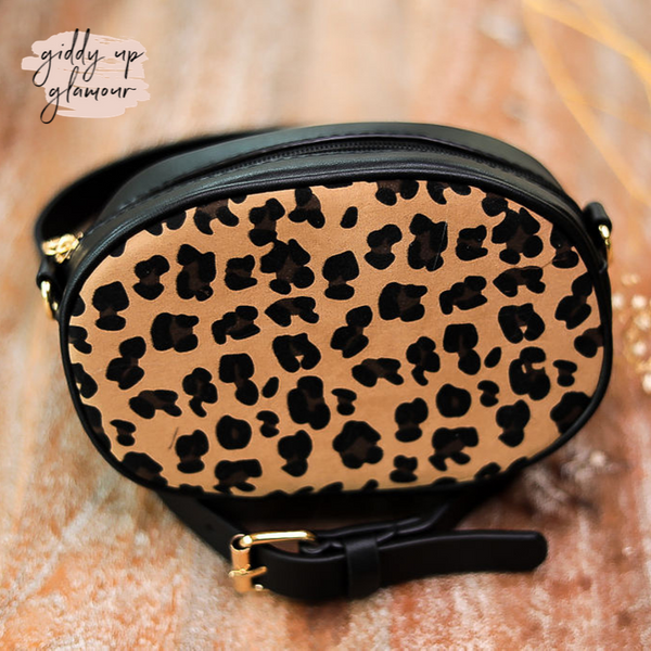 Oval Leopard Fanny Pack or Cross Body in Black