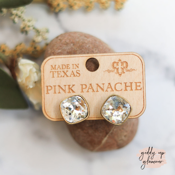 Pink Panache Cushion Cut Bronze Stud Earrings with Clear Crystals