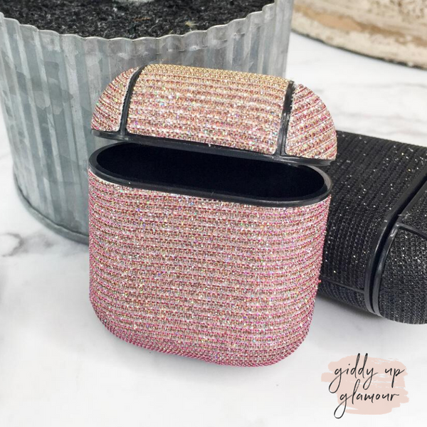 Protective AirPods Case in Rose Gold Glitter