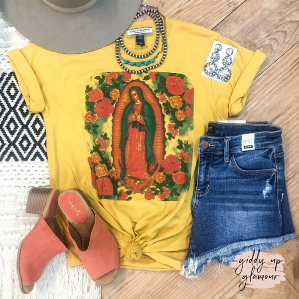 Lady of Guadalupe Floral Graphic Tee with Crystals in Mustard Yellow