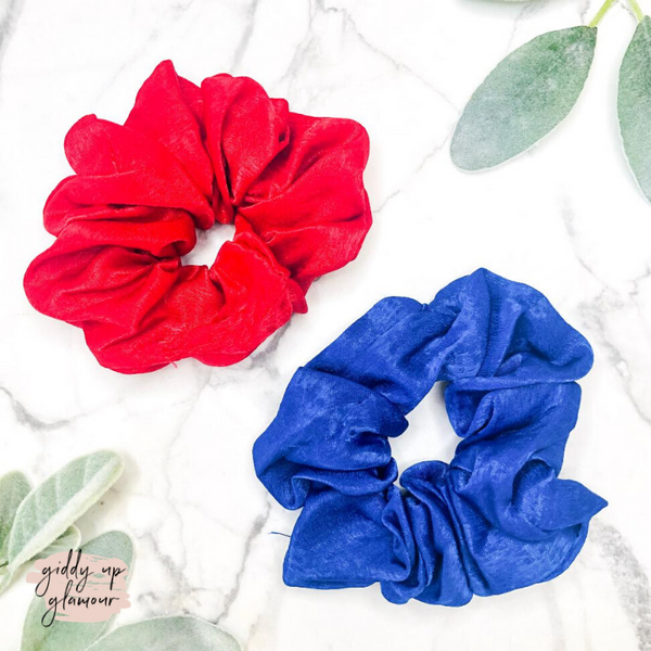 Set of Two | Red and Royal Blue Hair Scrunchies