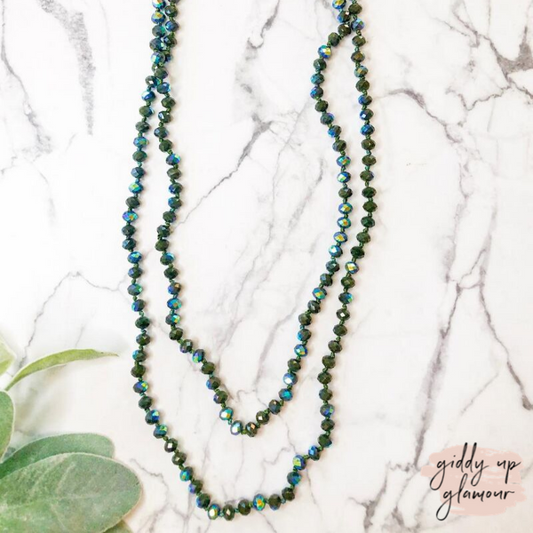 60 Inch Long Layering 8mm Crystal Strand Necklace in Rain Forest Green AB Crystal